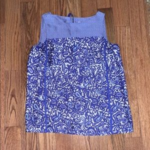 blue and white loft top
